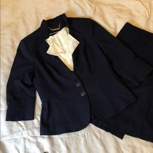Navy Ruffle Collar Jacket